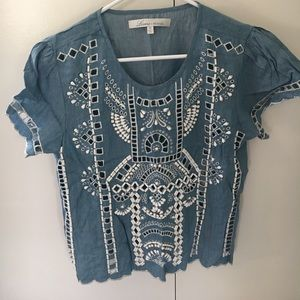Lovers and friends cropped embroidered top